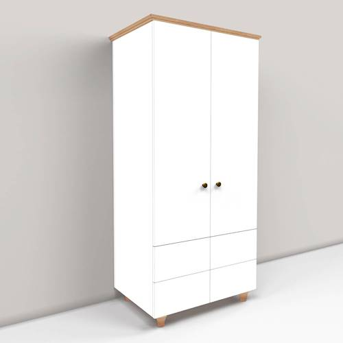 Tall Wardrobe With External Drawers